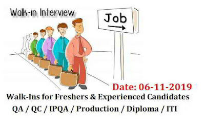 Walk-Ins for Freshers & Experienced QA | QC | IPQA | Production | Diploma (All Traders) | ITI (Fitters,Electricians) | B.Tech (C.S.E / IT) | MCA | B.Sc Computers on 6th Nov' 2019 @ Hyderabad
