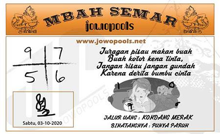 Mbah Semar SDY Sabtu 03 Oktober 2020