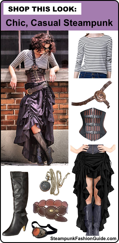 how to dress chic, casual, steampunk for women. steampunk clothing and fashion for women