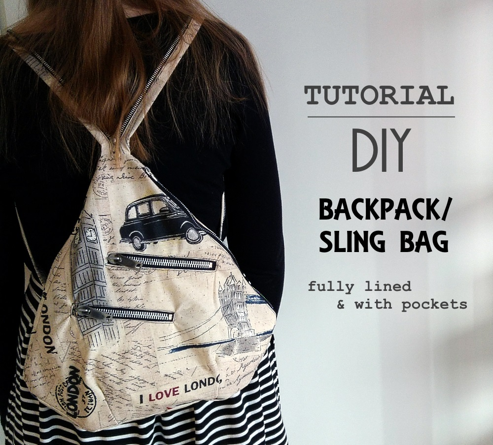 Sew scoundrel tutorial diy backpack sling bag with lining and tutorial diy backpack sling bag with lining and pockets solutioingenieria Choice Image