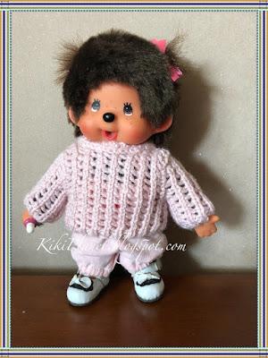 kiki monchhichi doll poupée tricot pull ajouré handmade fait main knitting sweater