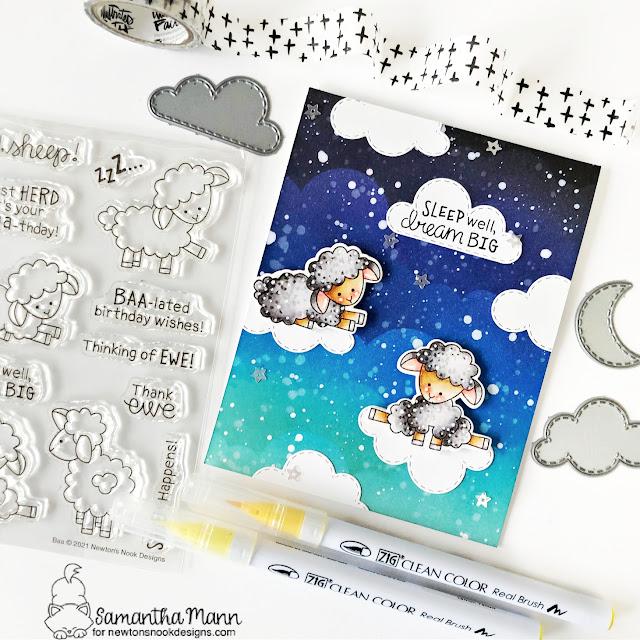 Sleep Well, Dream Big card by Samantha Mann | Baa Stamp Set, Clouds Stencil and Sky Scene Builder Die Set by Newton's Nook Designs #newtonsnook #handmade
