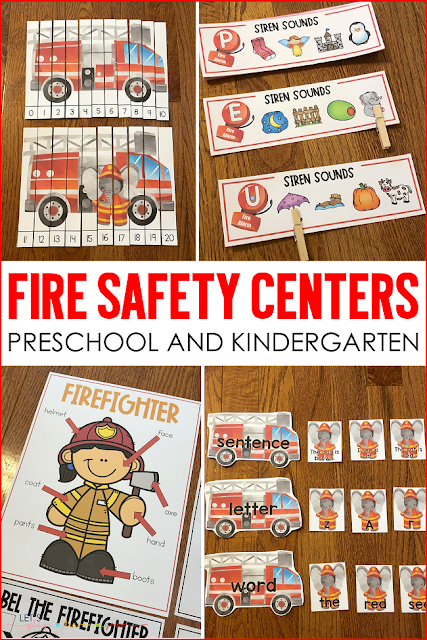 Fire Safety Center Activities for Preschool and Kindergarten