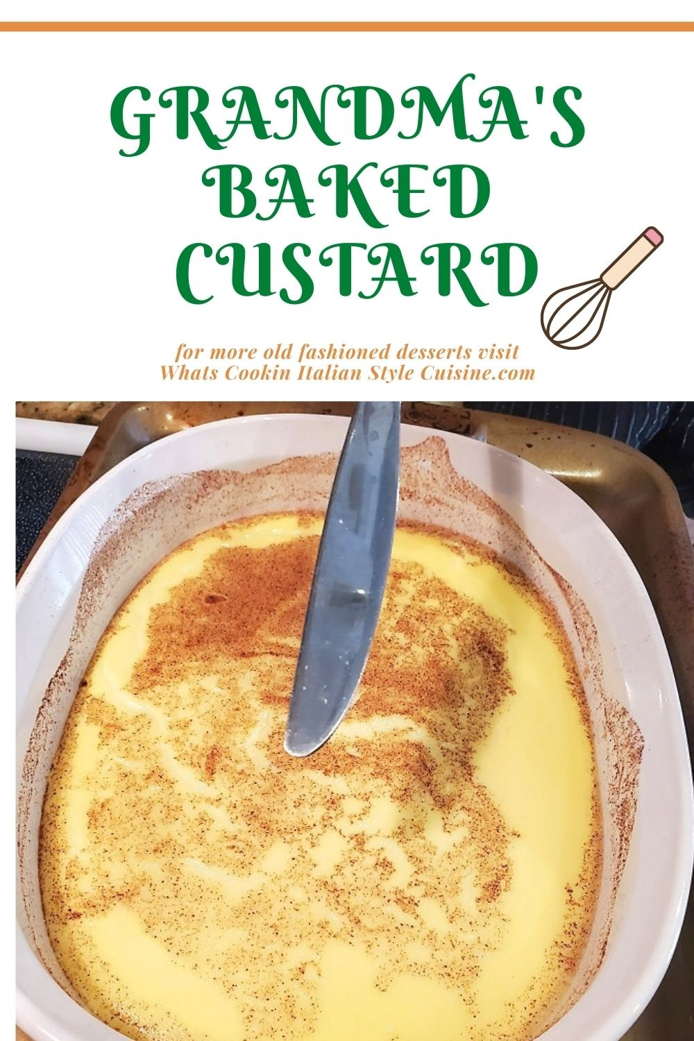 this is a pin for later old fashioned baked custard recipe