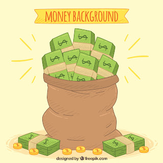 Picture shows a sac full of US Dollars and Cents