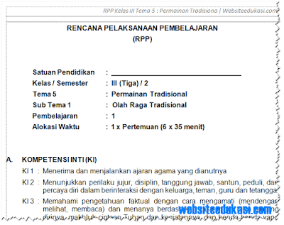 RPP Kelas 3 SD/MI Semester 2 Kurikulum 2013 Revisi 2018