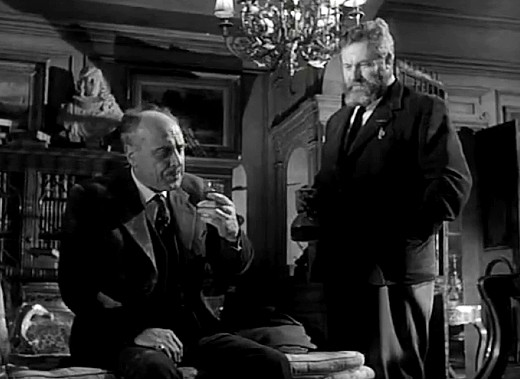 James Robertson Justice and George Coulouris in Seven Thunders, 1957