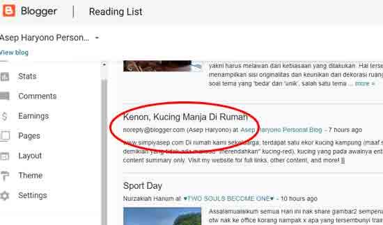 Lihat dalam lingkaran warna merah, tercantum noreply@blogger.com dan tidak ada foto thumnail nya seperti pada artikel sport day di bawah nama saya.