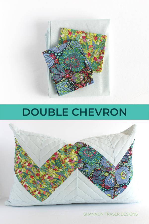 Double Chevron lumber pillow - Fantasy version | Shannon Fraser Designs #quiltedpillow #modernquilting #homedecor