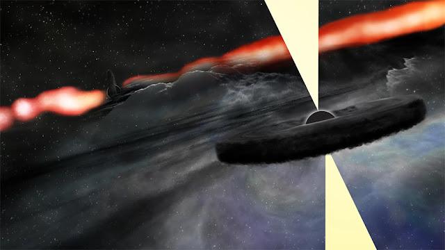 Ilustração artística de um buraco negro supermassivo orbitando o buraco negro central da galáxia Cygnus A