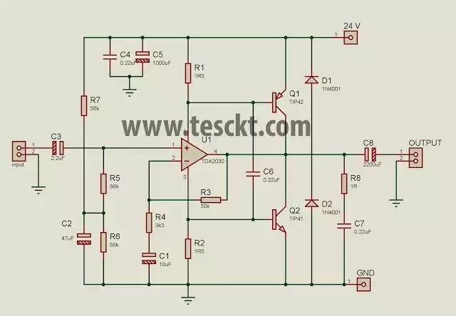 tda2030 with transistor Circuit