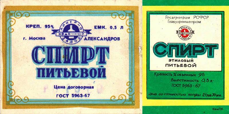 Этикетки пищевого спирта в СССР
