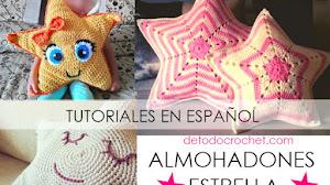3 Hermosos Almohadones o Cojines Crochet con forma de Estrella / Tutoriales