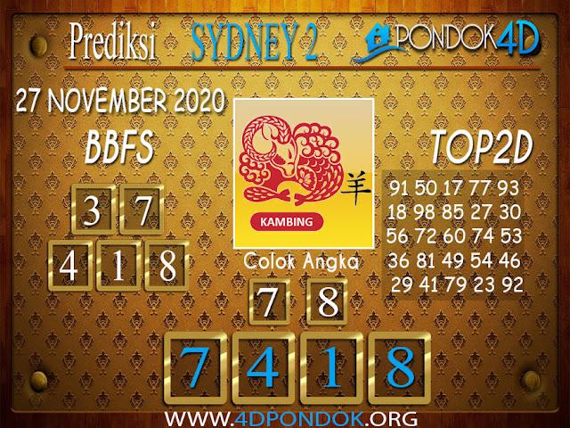 Prediksi Togel SYDNEY2 PONDOK4D 27 NOVEMBER 2020