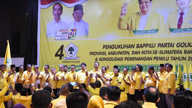 Airlangga Minta Sumbar Satu Suara Untuk Jokowi-Mar'uf Amin