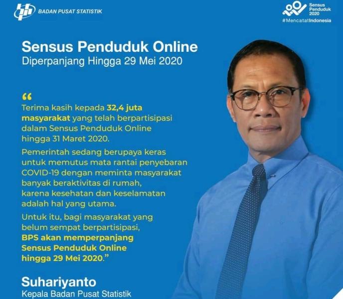 BPS Perpanjang Sensus Penduduk Online Hingga 29 Mei