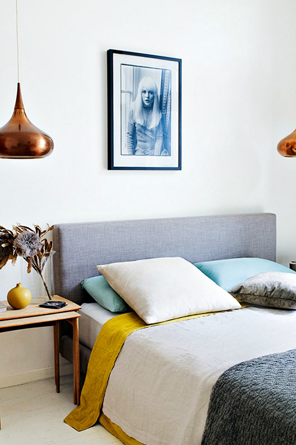 Relaxed Bedroom with Copper Lights