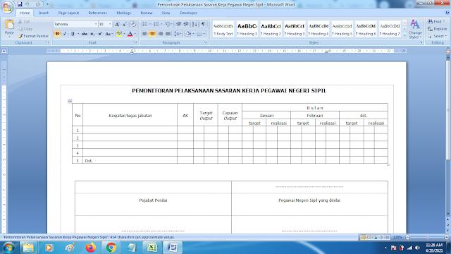 Contoh Format Monitoring Pelaksanaan Sasaran Kerja Pegawai Negeri Sipil