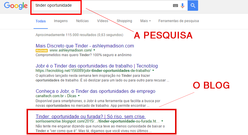 Blog aparecendo na primeira página do Google