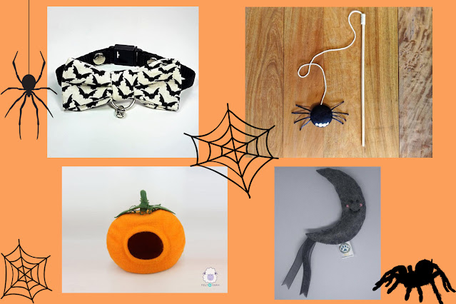 Halloween cat collar, toys, and pumpkin cat cave: An artisan Halloween guide