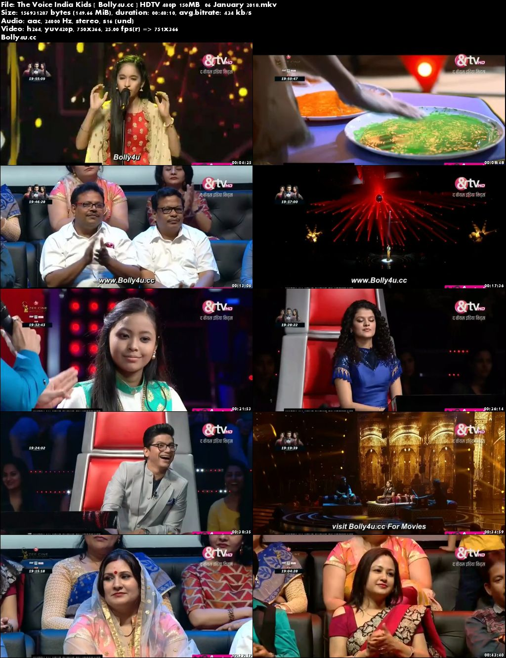 The Voice India Kids HDTV 480p 150MB 06 January 2018 Download