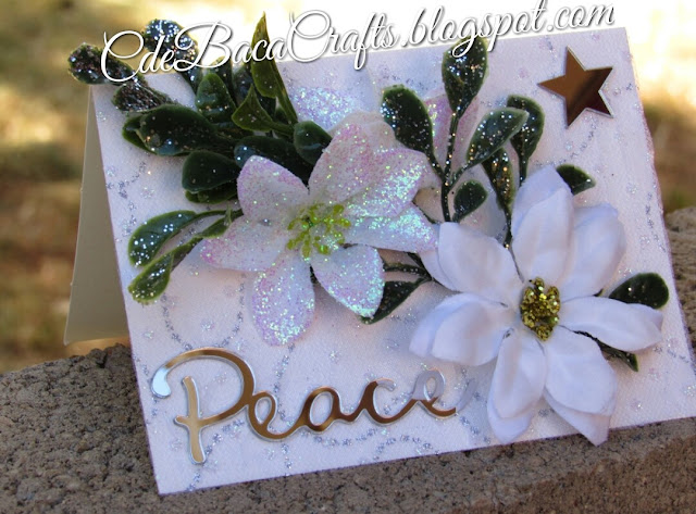Christmas card with mirrors and flowers featured on CdeBaca Crafts blog.
