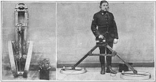 metal detector, 1919, used to find unexploded bombs in France after World War 1