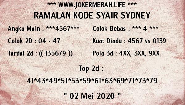 Prediksi Sydney 02 Mei 2020 - Joker Merah Sydney