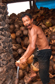 man peel the coconut fruit