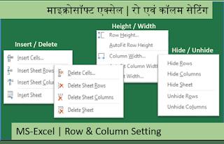 Row Column Settings in MS-Excel Hindi Videos