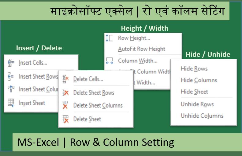 Microsoft Excel Row & Column Setting