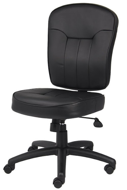 Black Leather OFFICE Chair Without (No) Arms | Best Office Furniture