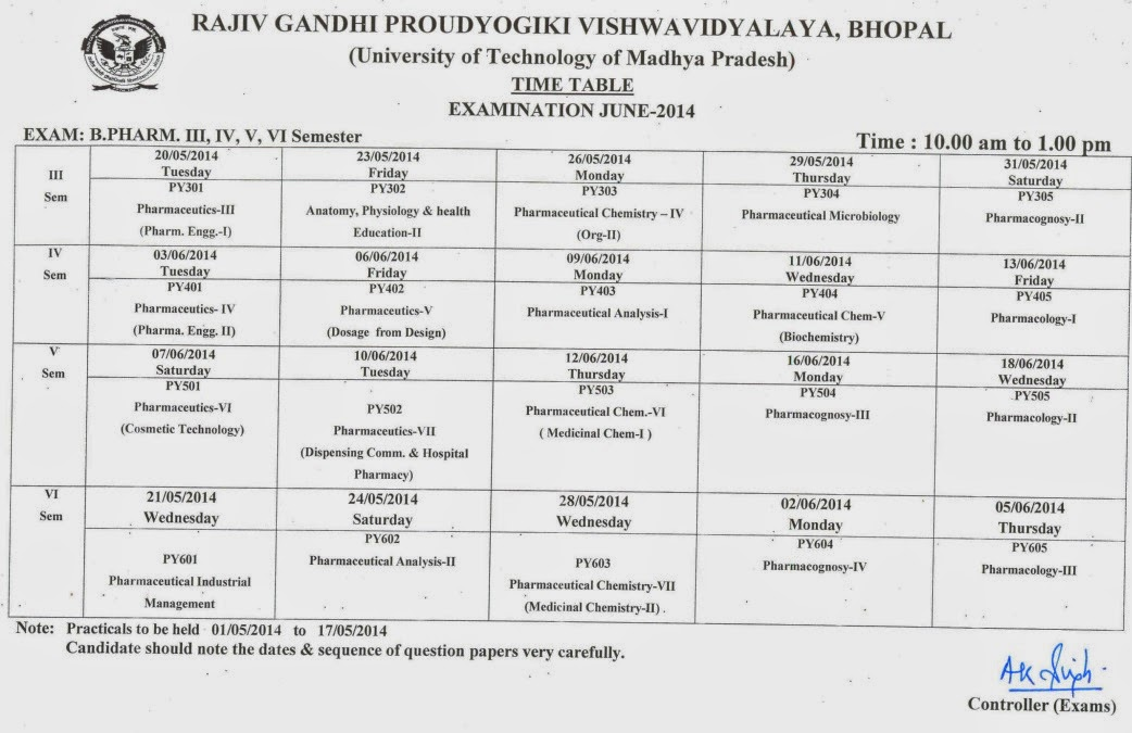 RGPV Examination Time Table: 2014