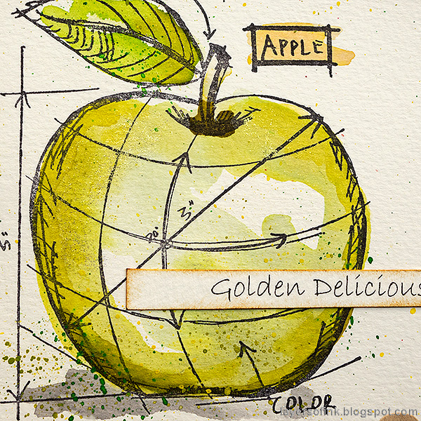 Layers of ink - Watercolor Apples Art Journal Tutorial by Anna-Karin Evaldsson. Golden Delicious apple.