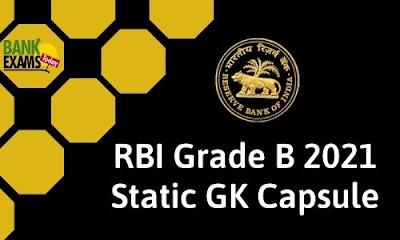 RBI Grade B 2021 Static GK Capsule
