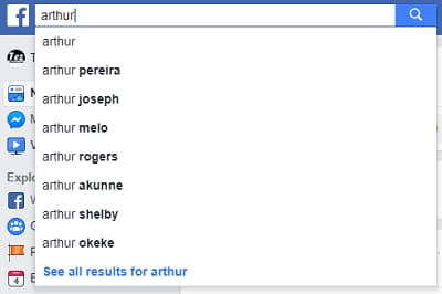 Search a friend in facebook search