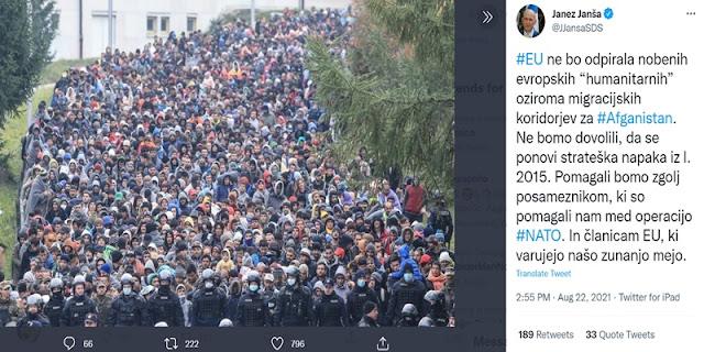 PM Slovenia: Uni Eropa Tidak Menerima Gelombang Pengungsi Afghanistan, Kecuali Mereka yang Pernah Bantu NATO