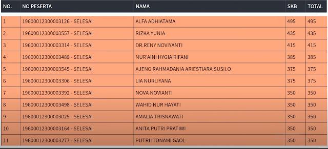 Hasil SKB Sesi 2 CPNS 2019 PROVINSI DKI JAKARTA 16 September