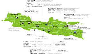 Peta rute jalur kereta api di Pulau Jawa