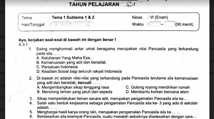 Soal Ulangan K13 Kelas 6 Tema 1 Subtema 1 Dan 2 Sekolahdasar Net
