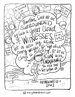 "Bible verse coloring page ""great cloud of witnesses"" Hebrews 12:1"