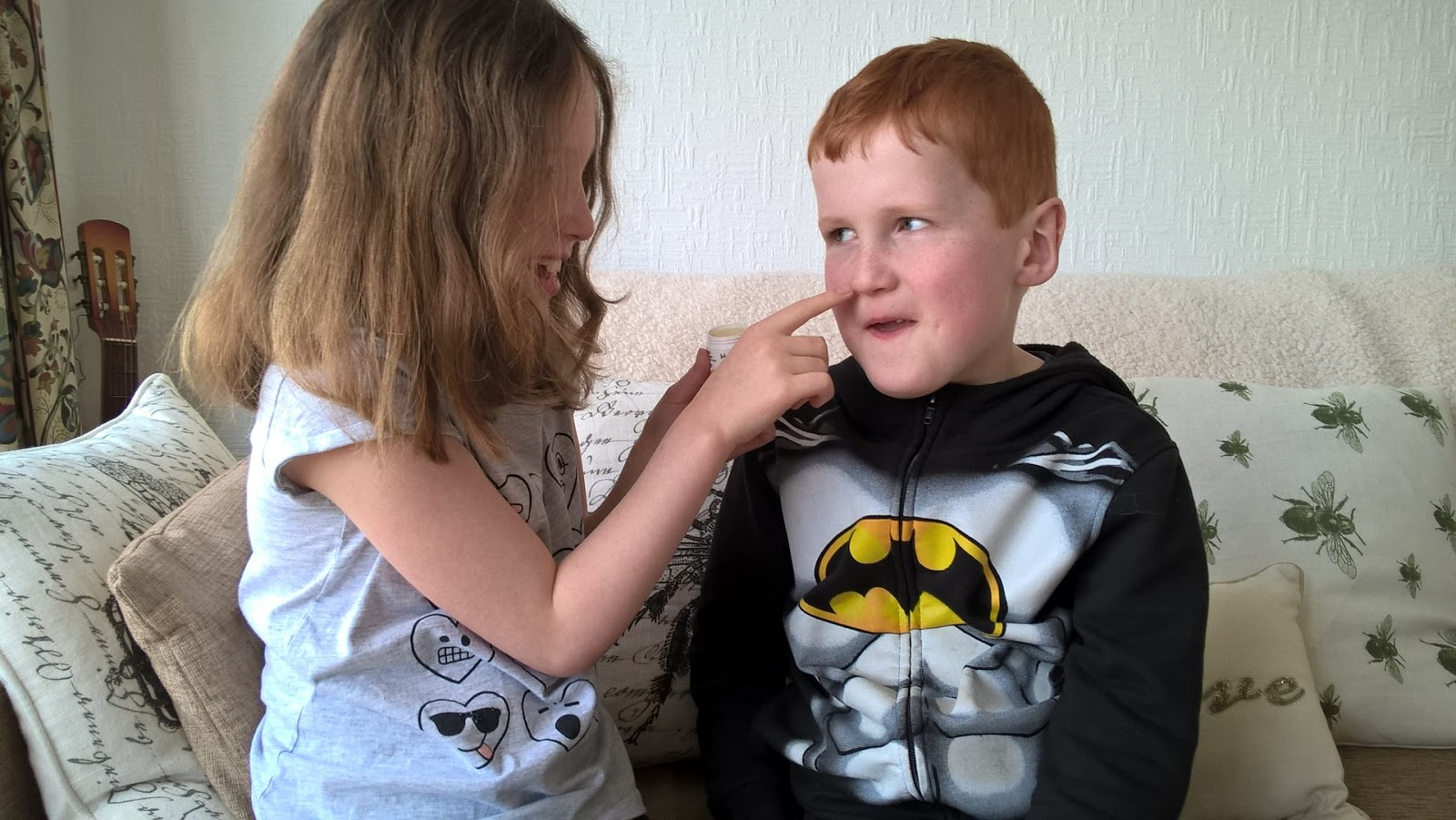 Caitlin applying HayMax Pure to Ieuan - Hayfever Relief - motherdistracted.co.uk