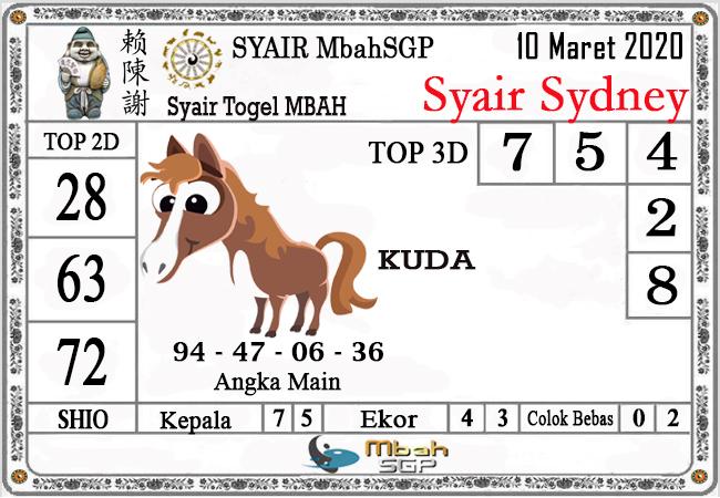 Prediksi Togel Sidney Selasa 10 Maret 2020 - Syair MbahSGP