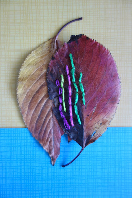 pressed leaves, autumn leaves, leaves, leaf embroidery, nature crafts, sewing crafts, old book, DMC thread, needle and thread, blah to TADA