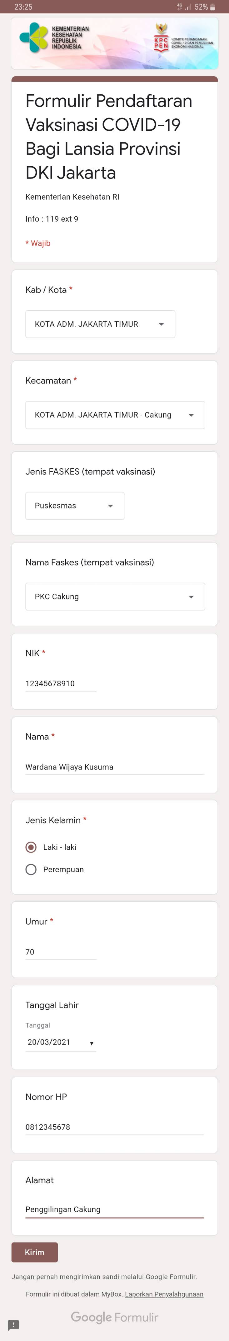Tata Cara isi data Formulir Online Suntik Vaksin Covid-19