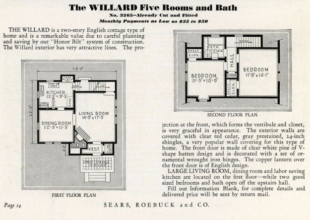 Sears Willard model floorplan, 1932 Sears Modern Homes catalog