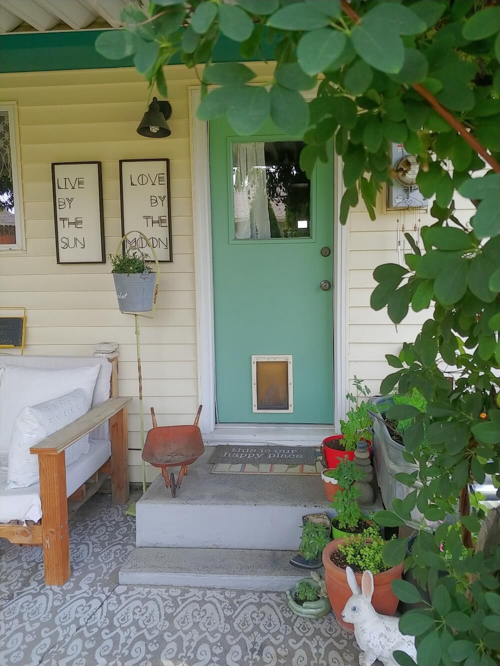 view of the back door