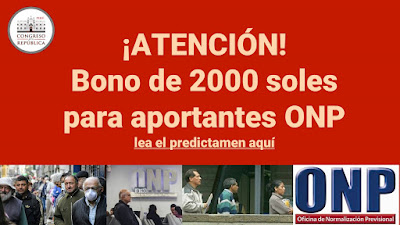Bono de 2000 soles para aportantes ONP predictamen en la comision de economía