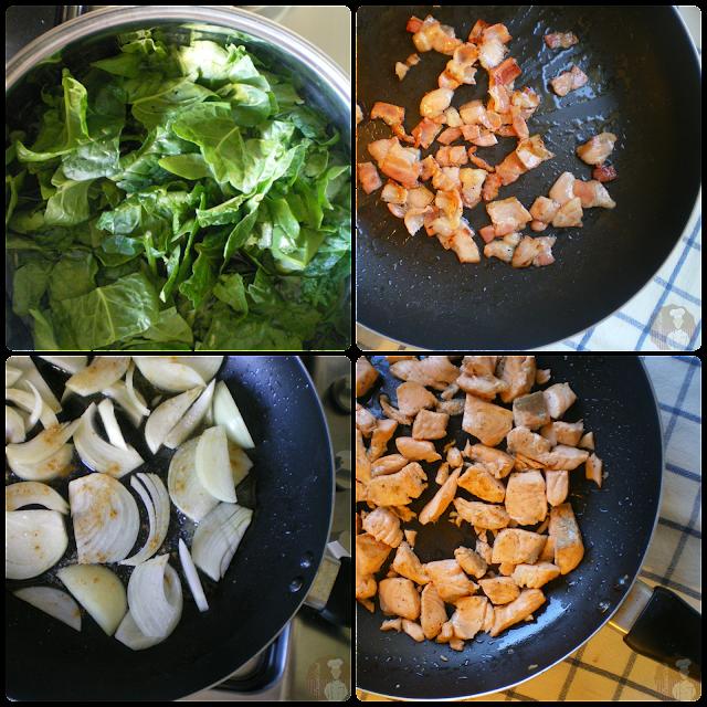 Pastel de salmón con espinacas y setas: elaboración del relleno