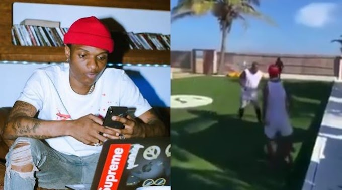 Reactions as Wizkid suffers embarrassing fall while playing football with friends (Video)